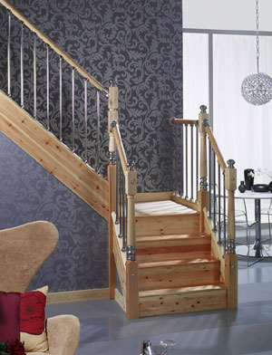 Axxys Pine and chrome handrails