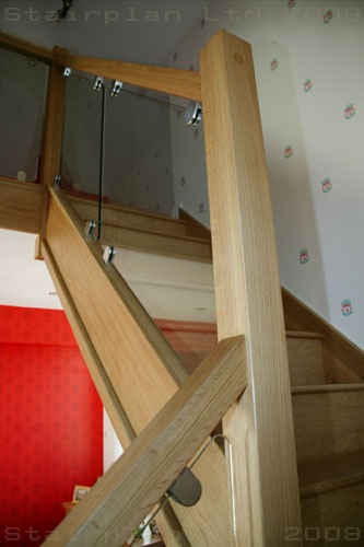 Oak SQ Handrail and Vision Balustrading